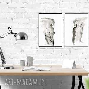 zestaw 2 oryginalnych grafik czarno-białych, abstrakcja, akt, elegancki