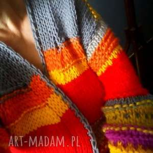 sweter boho, sweter, kardigan, na drutach, kolorowy swetry swetry