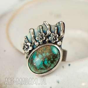 turkus w kwiatach srebrze pierścionek a723, turkus, srebrny