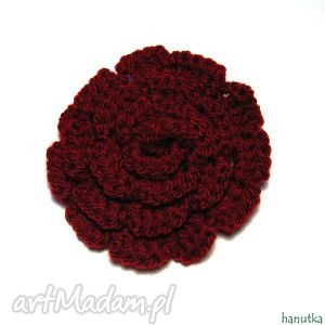 carmen - broszka - prezent, kwiat, róża, ozdoba, dekoracja, szydełkowe
