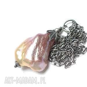 pearl - naszyjnik - perła, srebro, oksydowane