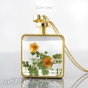 Suszony kwiat we szkle - naszyjnik, wisior, szklany, kwadratowy, kwiaty, suszone