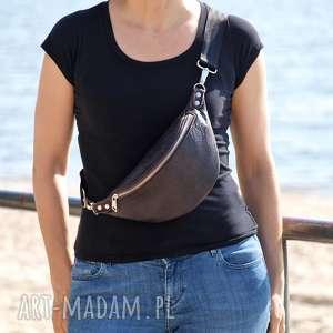 world of barracuda brązowa skórzana nerka, torebka, nerka przez ramię