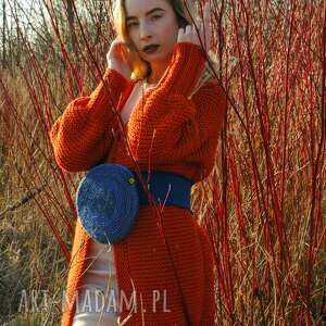 unikalny, rudy sweter - płaszcz, sweter, dzianina, dzianinowy, wiosenny