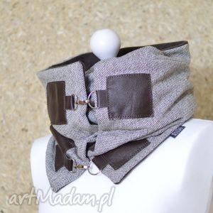handmade szaliki szal wełniany ze skórą, komin unisex - beż i brąz