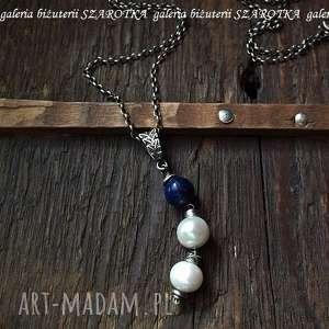 jagody w Śmietanie naszyjnik z naturalnych pereł, lapisu i srebra - perła