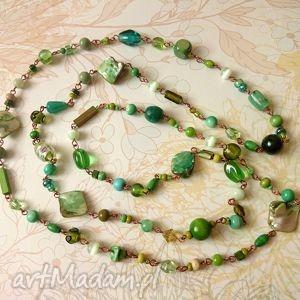 green - długi naszyjnik - naszyjnik, korale, zielone