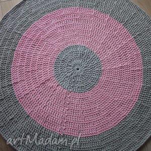 okrągły dywan szaro-różowy 120 cm - dywan, bawełniany, sznurek, szary