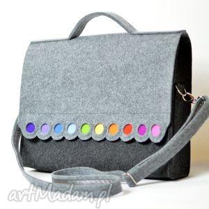 Torba na laptopa 15,6 . Filcowa teczka, torba z kolorowymi kropkami., filc, kropki