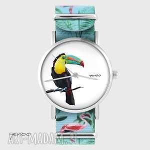 ręczne wykonanie zegarki zegarek - tukan flamingi, nato