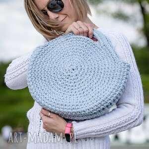 okrągła bawełniana torebka, błekitna, okrągła, bawełniana, do ręki