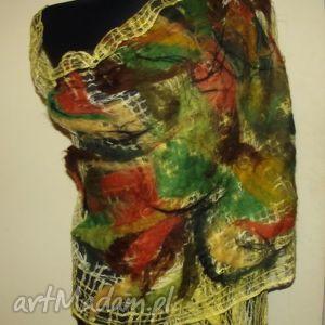 malowany filcem -żółty - szal, flic, kolorowy, rękodzieło, pojedynczy