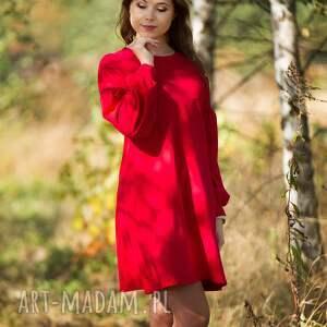 LALA sukienka trapezowa z bufiastym rękawem, czerwona., sukienka,