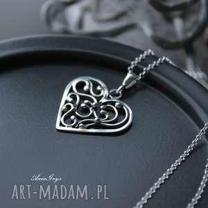wisiorki od serca dla serca, serce, walentynki, wisiorek, wire-wrapping, oksydowany