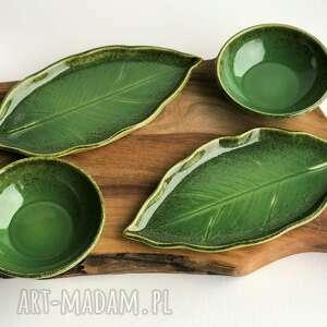 handmade ceramika zestaw ceramiczny dla dwojga - 2 x talerz liść plus miseczka