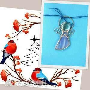 kartka na życzenia z niebieskim aniołkiem, święta, witrażowy