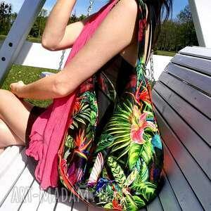 Hobo welurowe kolibry i kwiaty na ramię sabi tatka torba worek