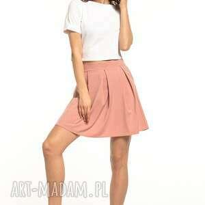 Spódniczka mini z zakładkami, t316, brudno różowa spódnice