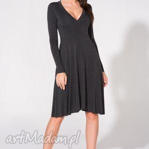 handmade sukienki sukienka z dekoltem, t146, ciemnoszara