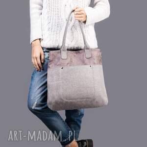 na ramię fiella - duża torba szara plecionka, modna, klasyczna, uniwersalna