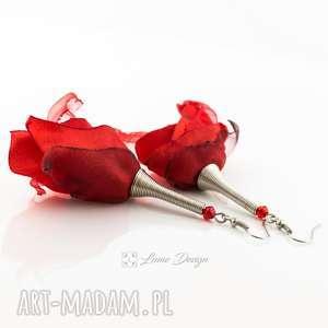 pod choinkę prezenty, kolczyki silk czerwone, materiałowe, kwiaty, długie, duże