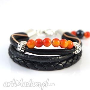 bransoletka - czarna, pomarańczowa rzemienie, koraliki, bransoletka, rzemienie
