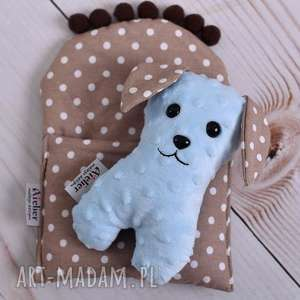 Prezent Przytulanka dziecięca pies w beciku, pies-zabawka, pies-hand-made