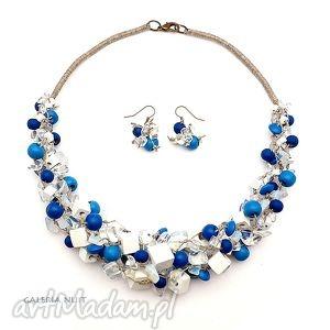 marine - komplet biżuterii, kryształ, opalit, korale, len, komplet, biel komplety