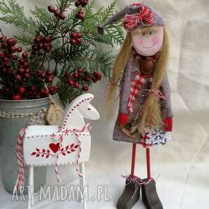 świąteczny skrzat no 1, skrzat, naturalny eko, prezent, reczbie malowane