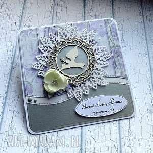 wyjątkowe życzenia w pudełku, na chrzest, chrzest święty, gołąb, srebro