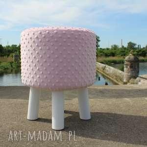 pufa różowe minky - 36 cm białe nogi, puf, taboret, hocker, minky, puff, stołek