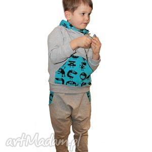 ubranka bluza dresowa ze stójką - niebieskie potworki, dresowa, bawełniana, wygodna