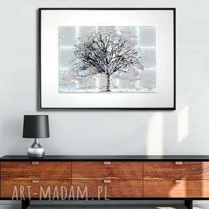 grafika w ramie styl minimalistyczny drzewo za oknem 40x30, drzewo, prezent