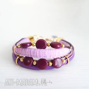 ręcznie zrobione bransoletka - fioletowa złota, koraliki