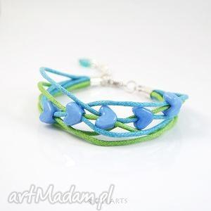 bransoletka - niebieskie serce 3 sznurki, bransoletka, serce, prosta