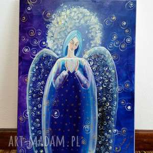 Marina Czajkowska! Anioł z Serduszkiem niebieski 45x60 cm
