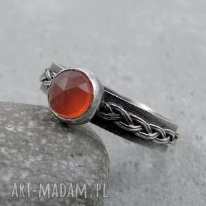 Pierścień z warkoczem - karneol, celtycki, słowiański, warkocz, nordycki, srebro