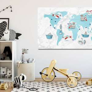 obraz xxl mapa Świata 2 dla dzieci - 120x70cm na płótnie - obraz, na