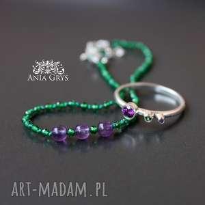 zestaw biżuterii fiołki, ametyst, chromodiopsyt, bransoletka, srebrny, pierścionek