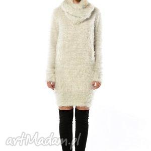 swetry ryszard grey - szary, długi sweter z szalem, puszysty, komin, sweter