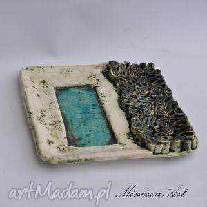 minervaart kwadratowa patera w zawijańce, patera, misa, talerz, ceramika, dekoracja