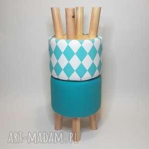 Pufa Turkusowy Arlekin - 36 cm , puf, taboret, hocker, arlekin, stołek, ryczka