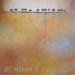 obraz na płótnie - drzewa 40/40 cm, abstrakcja, brąz, szary, drzewa, pomarańcz