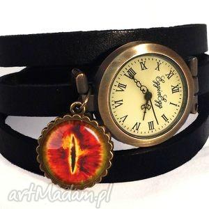 oko saurona - zegarek bransoletka na skórzanym pasku - pierścieni