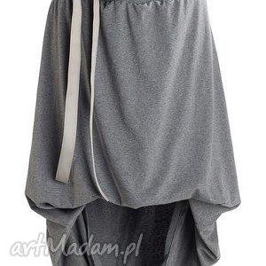Szaro-melanzowa spodnica, bombka, dresowa, bawelniana, midi, oryginana, efektowna