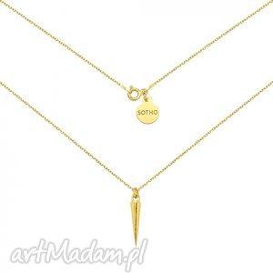 złoty naszyjnik z kłem, modny, naszyjnik, złoty, choker, zawieszka, kły biżuteria
