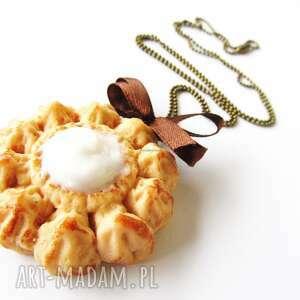 naszyjniki naszyjnik - kremowe ciasteczko, naszyjnik, modelina, fimo, masa