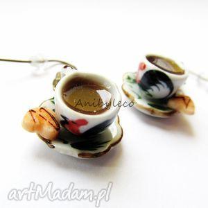 ręcznie wykonane kolczyki kolczyki - filiżanka z kawą i ciasteczkiem