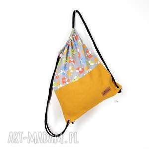 handmade worek plecak lisy kolorowe