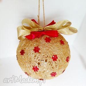 Kordonkowa bombka - złoto i czerwień - ,ozdoby,bombki,bombka,choinka,święta,